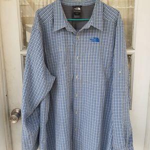 The North Face Men's Blue Plaid Shirt XXL